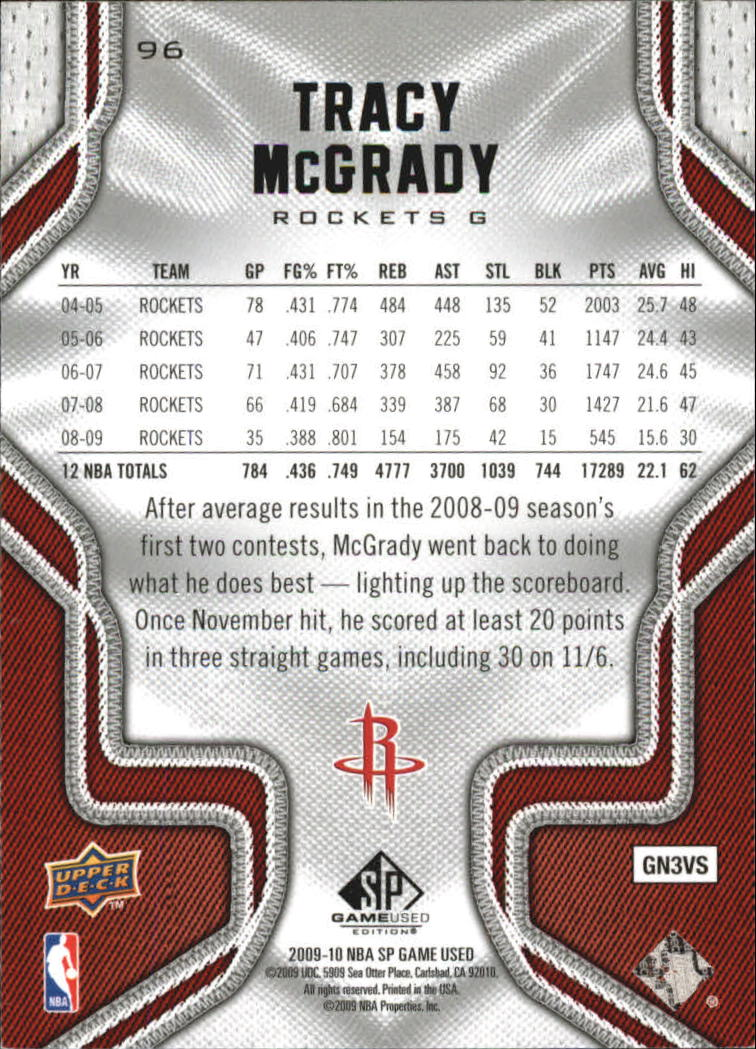 2009-10 SP Game Used #96 Tracy McGrady back image
