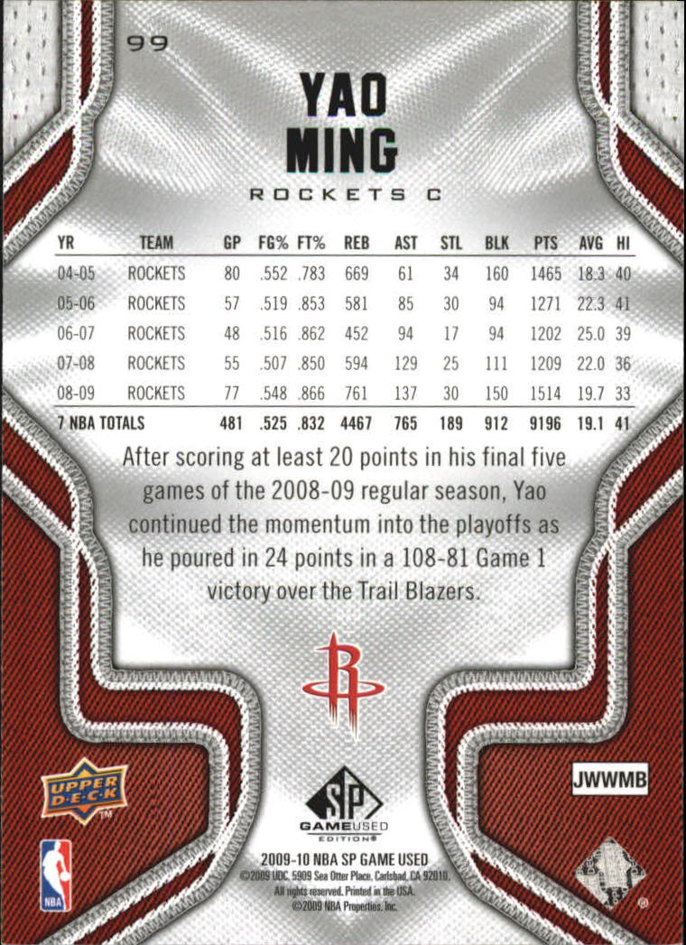 2009-10 SP Game Used #99 Yao Ming back image