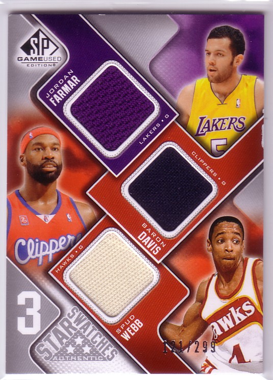 2009-10 SP Game Used 3 Star Swatches #3SDMF Baron Davis/Jordan Farmar/Spud Webb