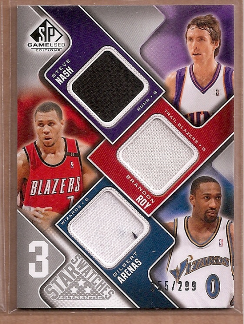 2009-10 SP Game Used 3 Star Swatches #3SNAR Brandon Roy/Gilbert Arenas/Steve Nash