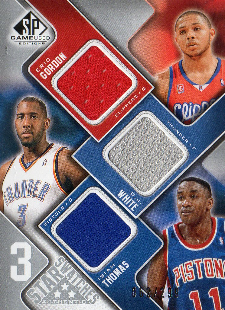 2009-10 SP Game Used 3 Star Swatches #3STGW Eric Gordon/Isiah Thomas/D.J. White