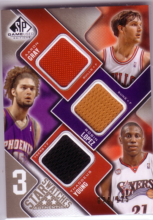 2009-10 SP Game Used 3 Star Swatches 125 #3SGYL Robin Lopez/Aaron Gray/Thaddeus Young