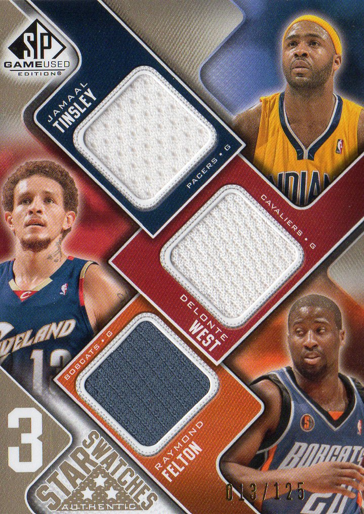 2009-10 SP Game Used 3 Star Swatches 125 #3STWB Jamaal Tinsley/Delonte West/Raymond Felton