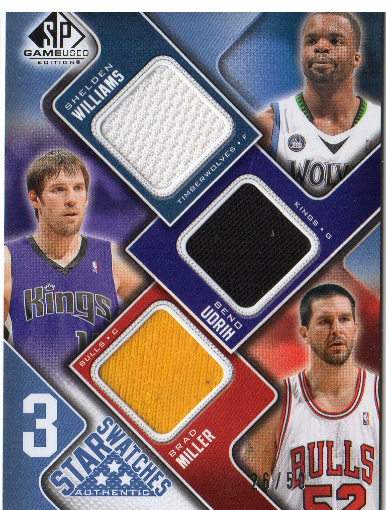 2009-10 SP Game Used 3 Star Swatches 50 #3SMUW Shelden Williams/Beno Udrih/Brad Miller