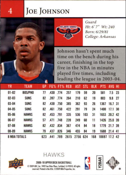 2009-10 Upper Deck #4 Joe Johnson back image