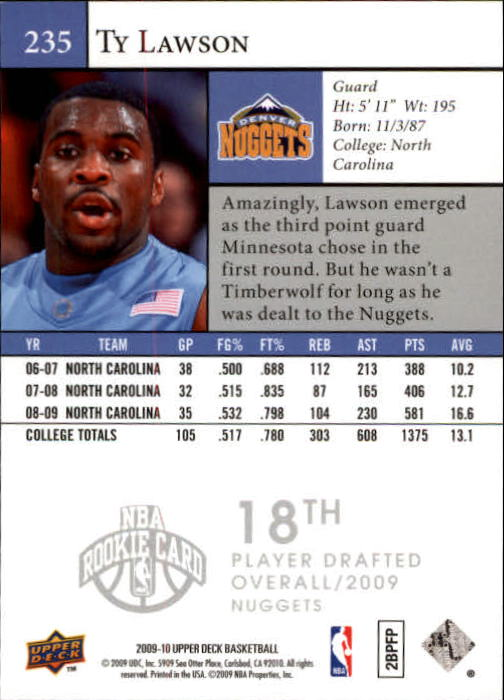 2009-10 Upper Deck #235 Ty Lawson SP RC back image