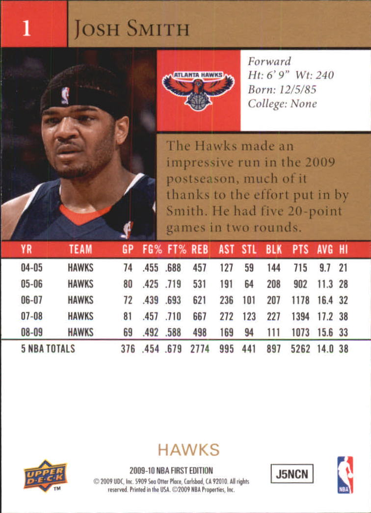 2009-10 Upper Deck First Edition Gold #1 Josh Smith back image