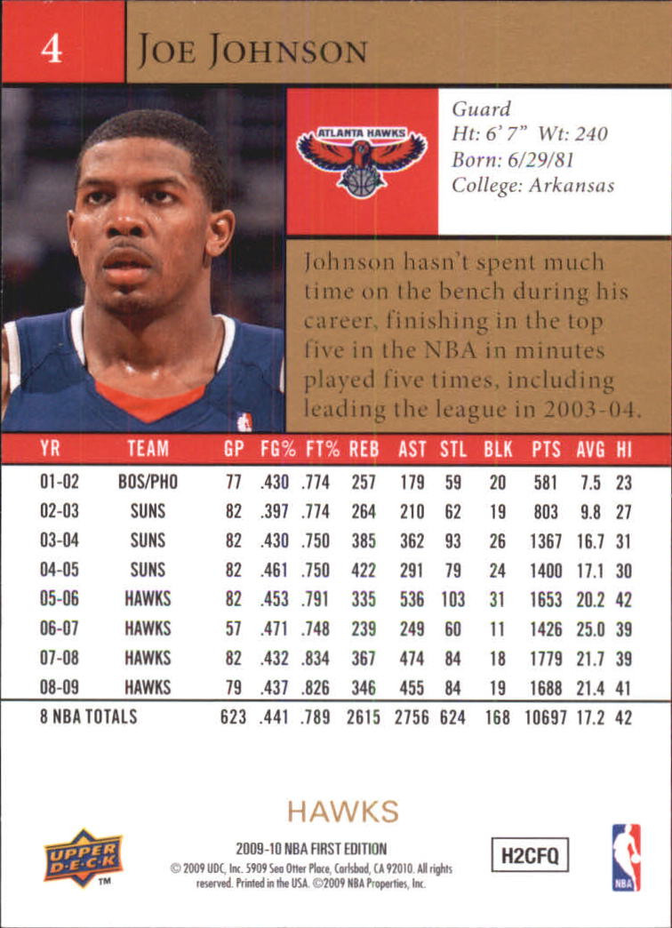 2009-10 Upper Deck First Edition Gold #4 Joe Johnson back image