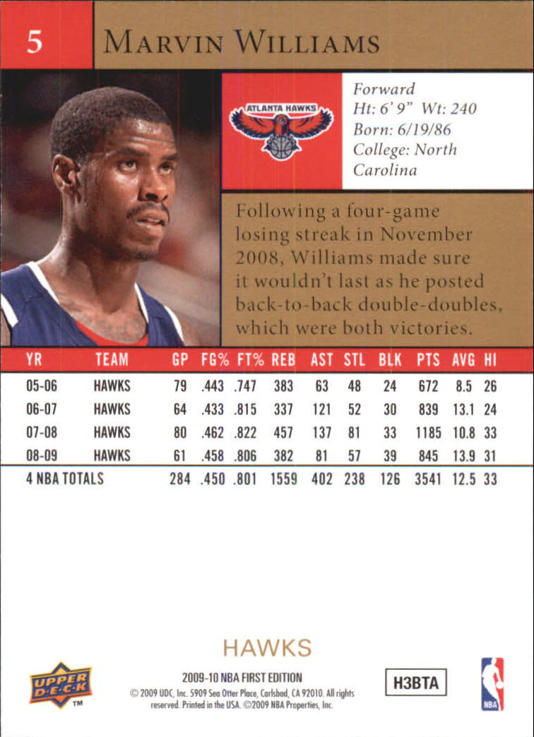 2009-10 Upper Deck First Edition Gold #5 Marvin Williams back image
