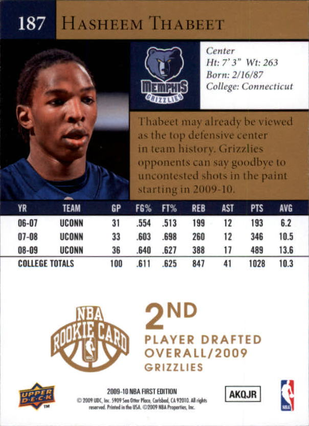 2009-10 Upper Deck First Edition Gold #187 Hasheem Thabeet back image