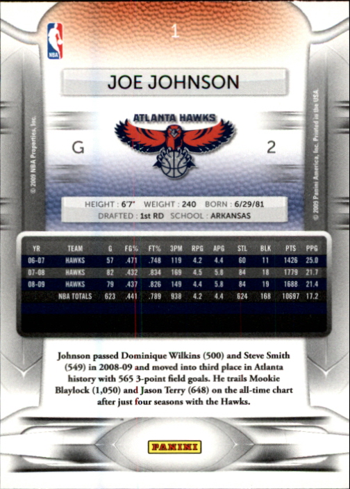 2009-10 Prestige #1 Joe Johnson back image