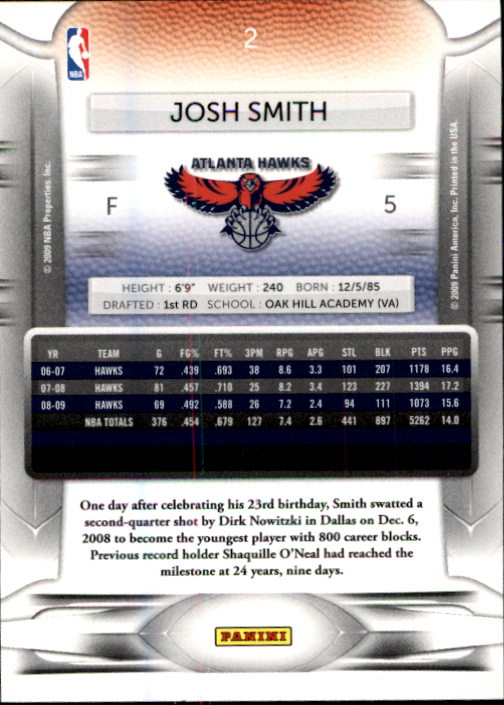 2009-10 Prestige #2 Josh Smith back image