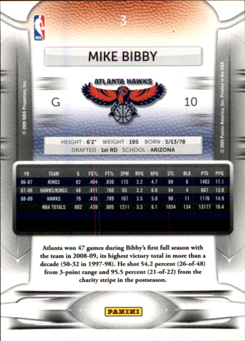 2009-10 Prestige #3 Mike Bibby back image