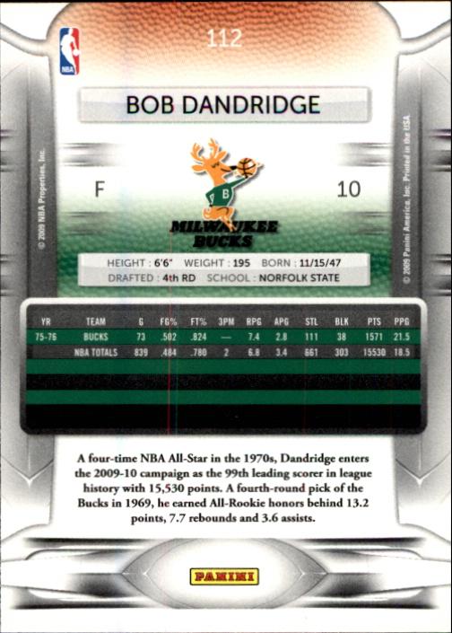 2009-10 Prestige #112 Bob Dandridge back image