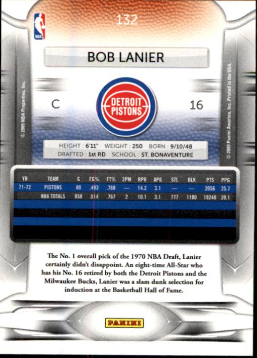 2009-10 Prestige #132 Bob Lanier back image