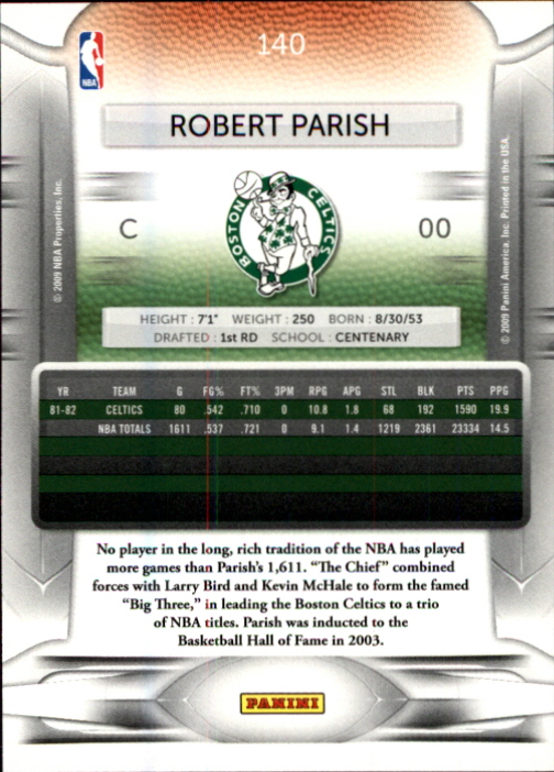 2009-10 Prestige #140 Robert Parish back image