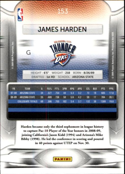 2009-10 Prestige #153 James Harden RC back image