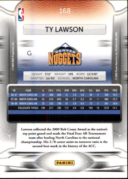2009-10 Prestige #168 Ty Lawson RC back image