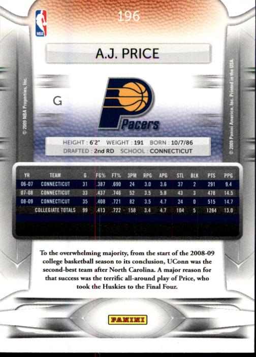 2009-10 Prestige #196 A.J. Price RC back image