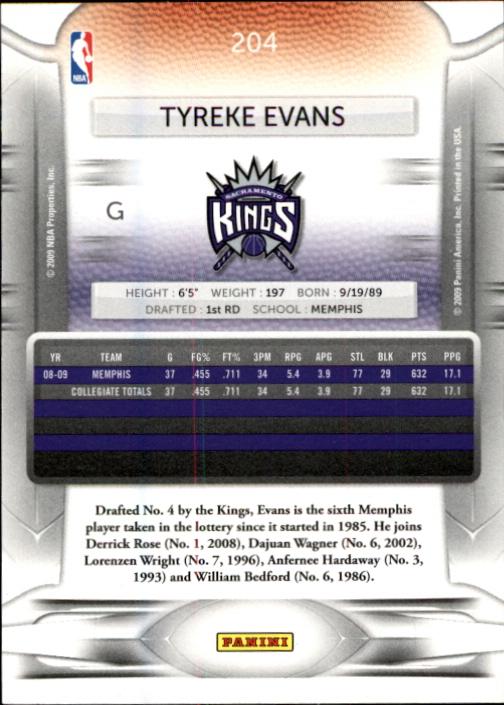 2009-10 Prestige #204 Tyreke Evans RC back image
