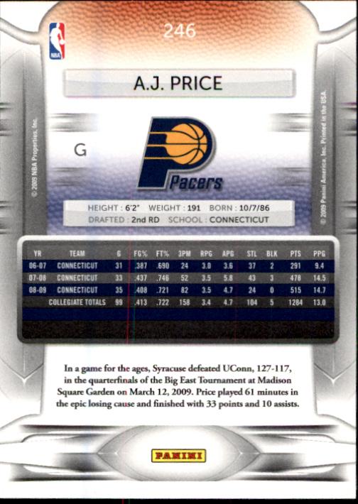 2009-10 Prestige #246 A.J. Price RC back image