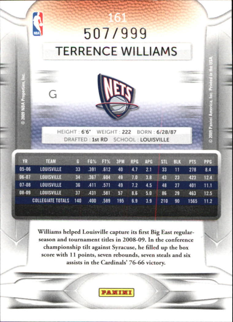 2009-10 Prestige Draft Picks Light Blue #161 Terrence Williams back image