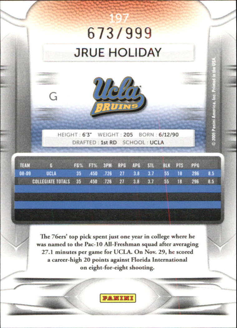 2009-10 Prestige Draft Picks Light Blue #197 Jrue Holiday back image
