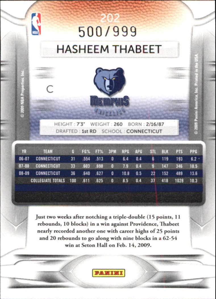 2009-10 Prestige Draft Picks Light Blue #202 Hasheem Thabeet back image