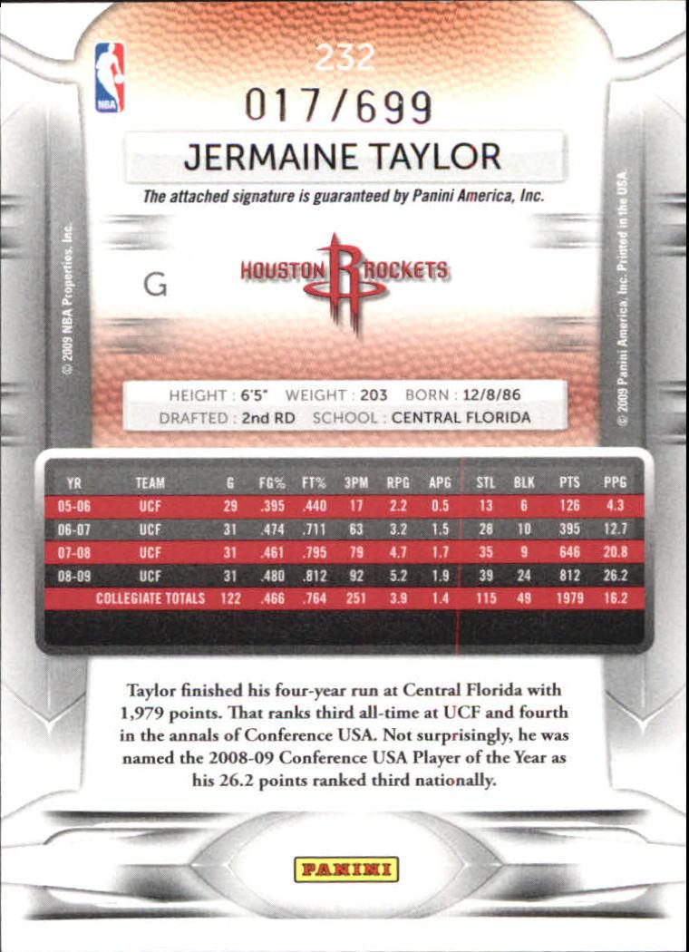 2009-10 Prestige Draft Picks Light Blue Autographs #232 Jermaine Taylor/699 back image