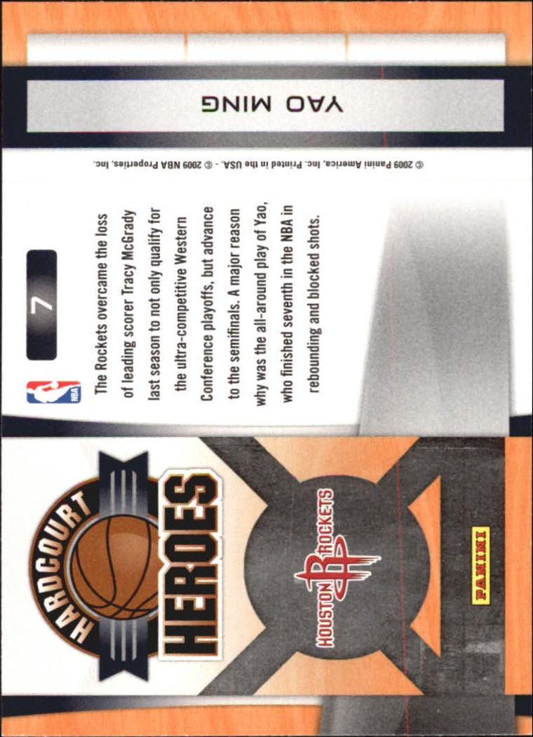 2009-10 Prestige Hardcourt Heroes #7 Yao Ming back image