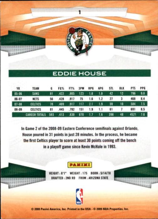2009-10 Panini #1 Eddie House back image