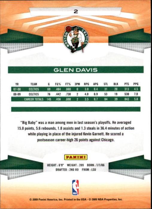 2009-10 Panini #2 Glen Davis back image