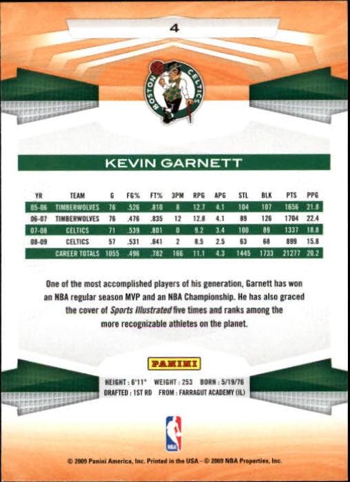 2009-10 Panini #4 Kevin Garnett back image