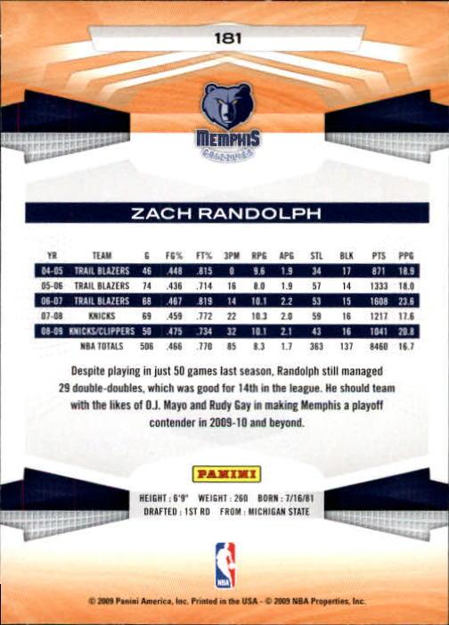 2009-10 Panini #181 Zach Randolph back image