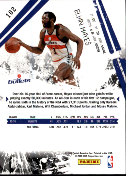 2009-10 Rookies and Stars #102 Elvin Hayes back image