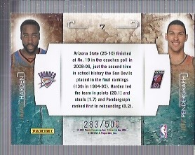 2009-10 Rookies and Stars Studio Combo Rookies Gold #7 James Harden/Jeff Pendergraph back image