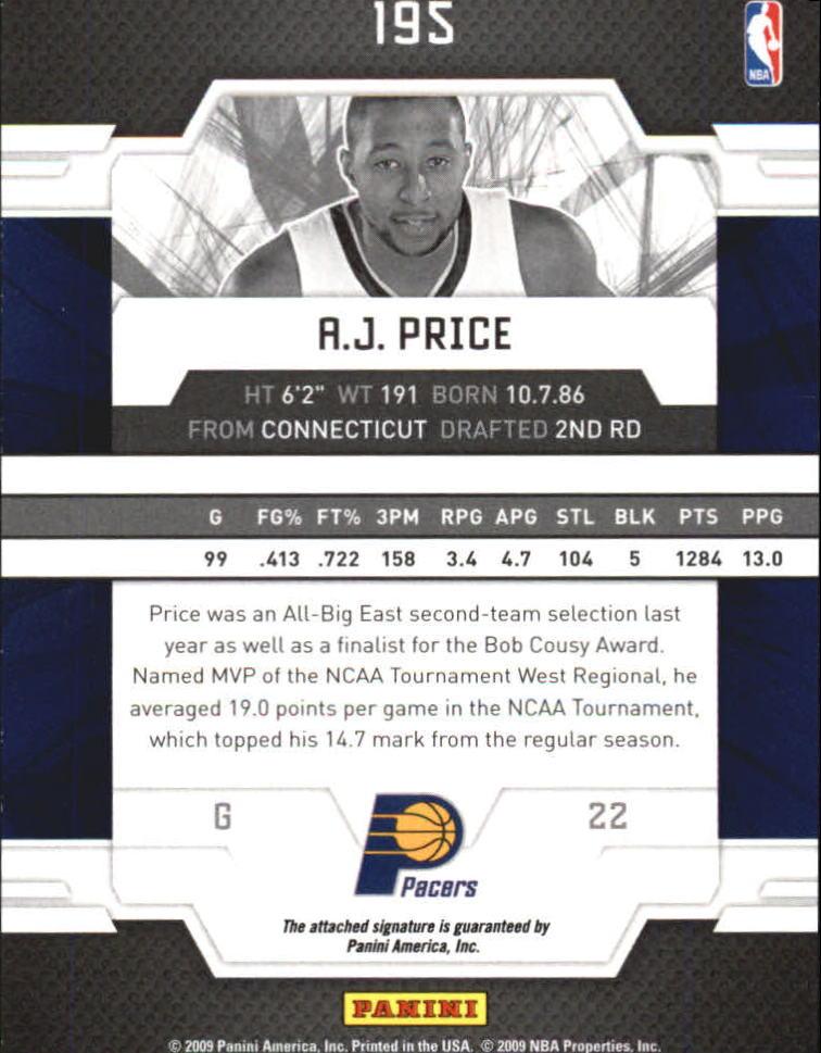 2009-10 Donruss Elite #195 A.J. Price AU RC back image