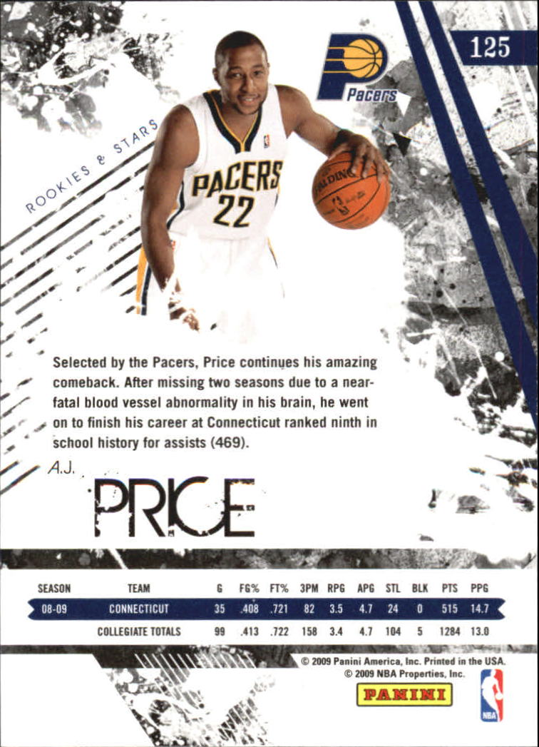 2009-10 Rookies and Stars Longevity #125 A.J. Price RC back image