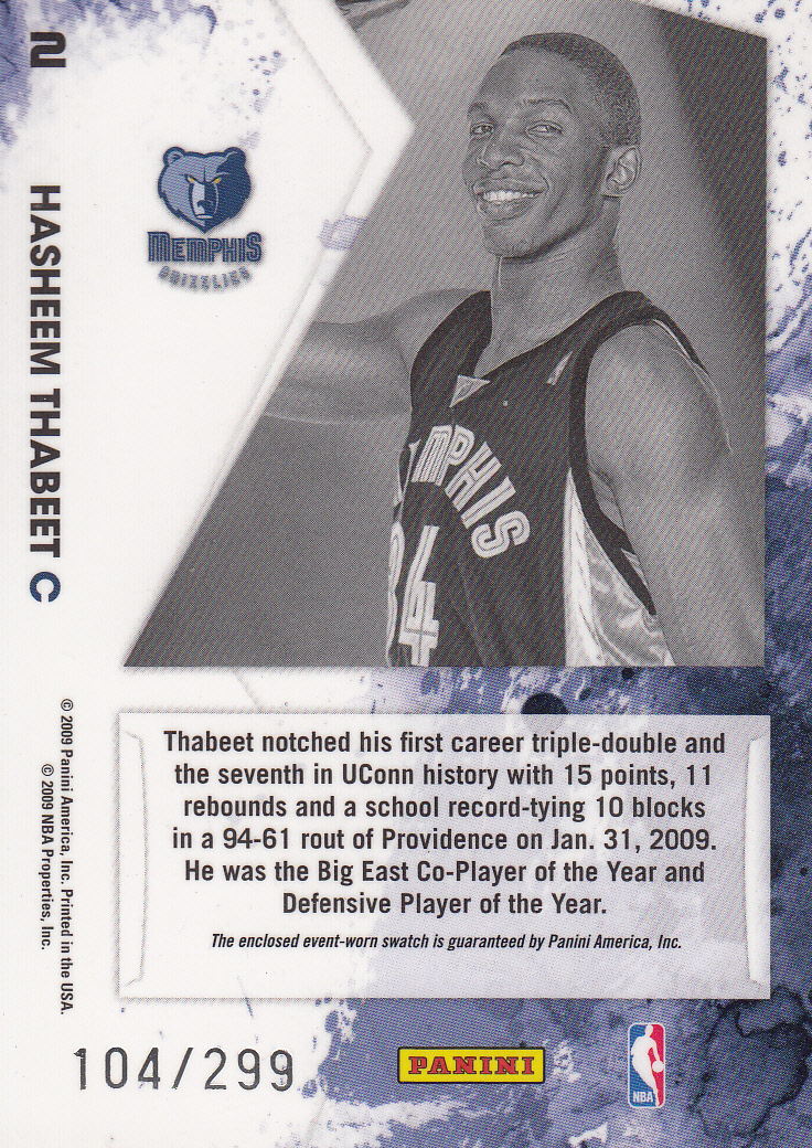 2009-10 Rookies and Stars Longevity Freshman Orientation Materials Jerseys #2 Hasheem Thabeet back image
