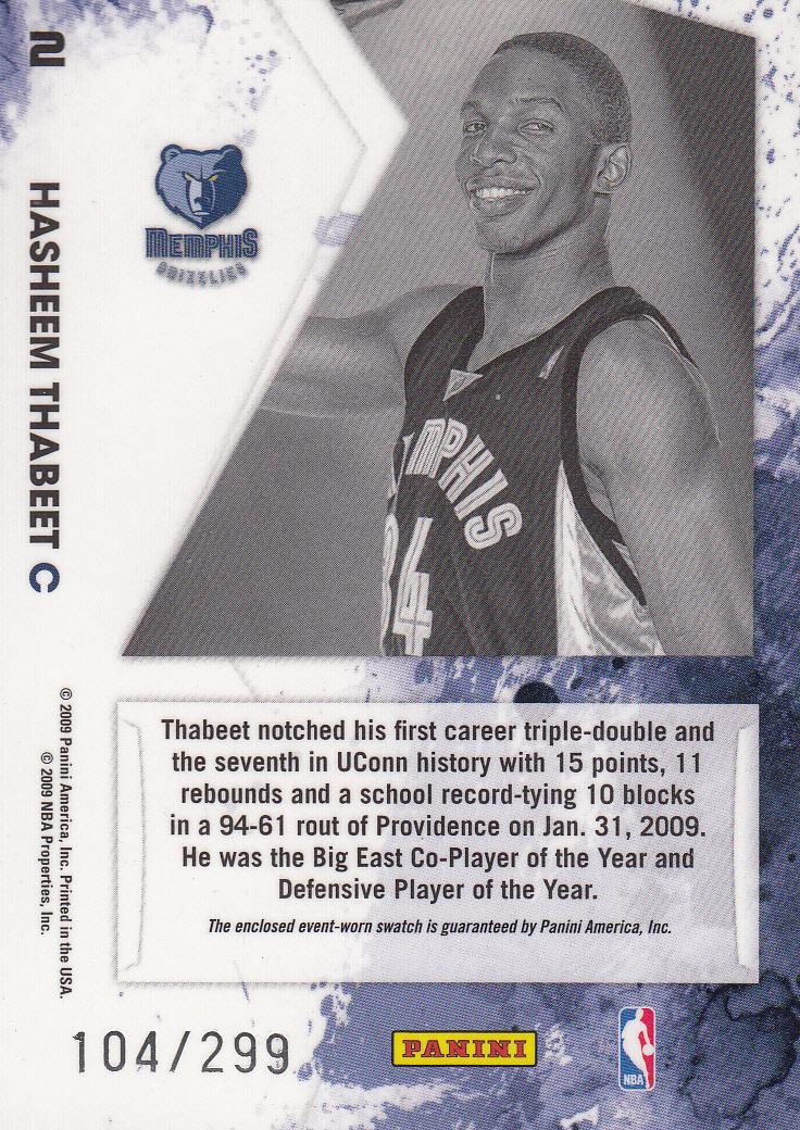2009-10 Rookies and Stars Longevity Freshman Orientation Materials Jerseys #2 Hasheem Thabeet back image