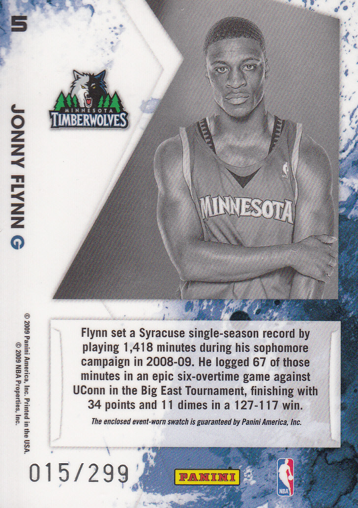 2009-10 Rookies and Stars Longevity Freshman Orientation Materials Jerseys #5 Jonny Flynn back image