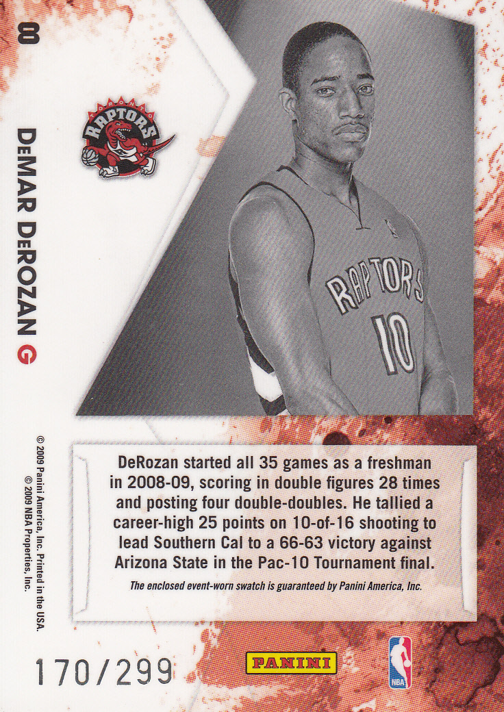 2009-10 Rookies and Stars Longevity Freshman Orientation Materials Jerseys #8 DeMar DeRozan back image