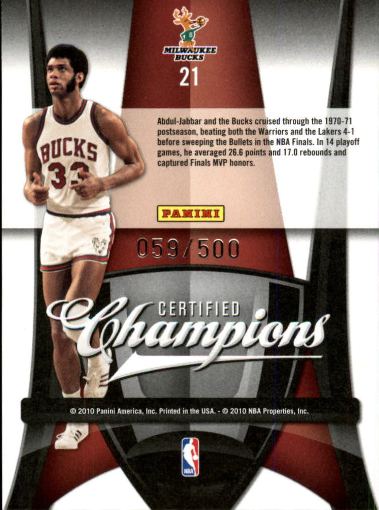 2009-10 Certified Champions #21 Kareem Abdul-Jabbar back image