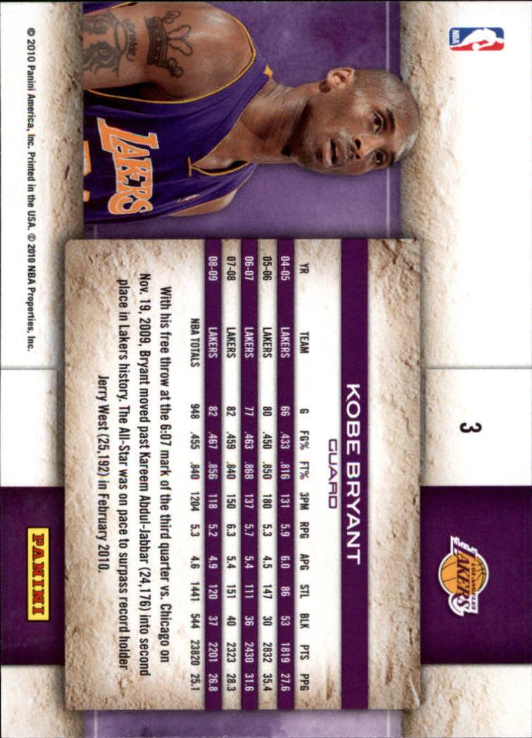 2009-10 Studio #3 Kobe Bryant back image