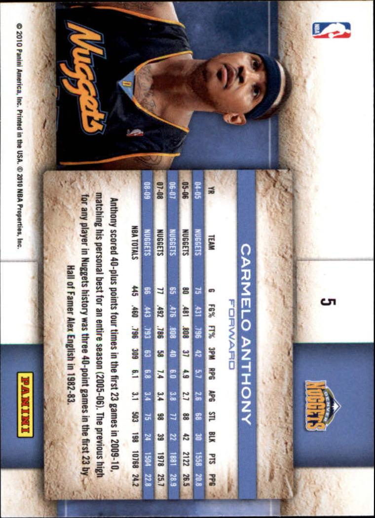 2009-10 Studio #5 Carmelo Anthony back image