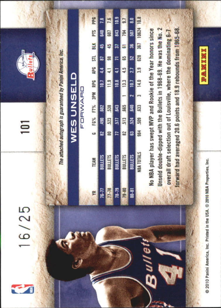 2009-10 Studio Proofs Gold Signatures #101 Wes Unseld/25 back image