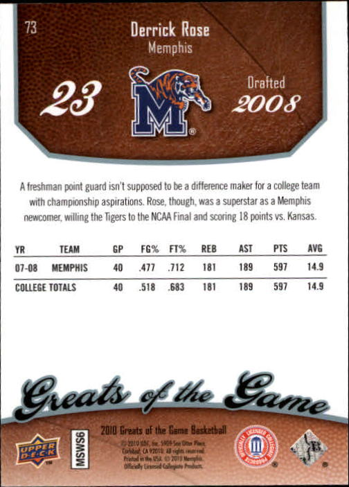 2009-10 Greats of the Game #73 Derrick Rose back image