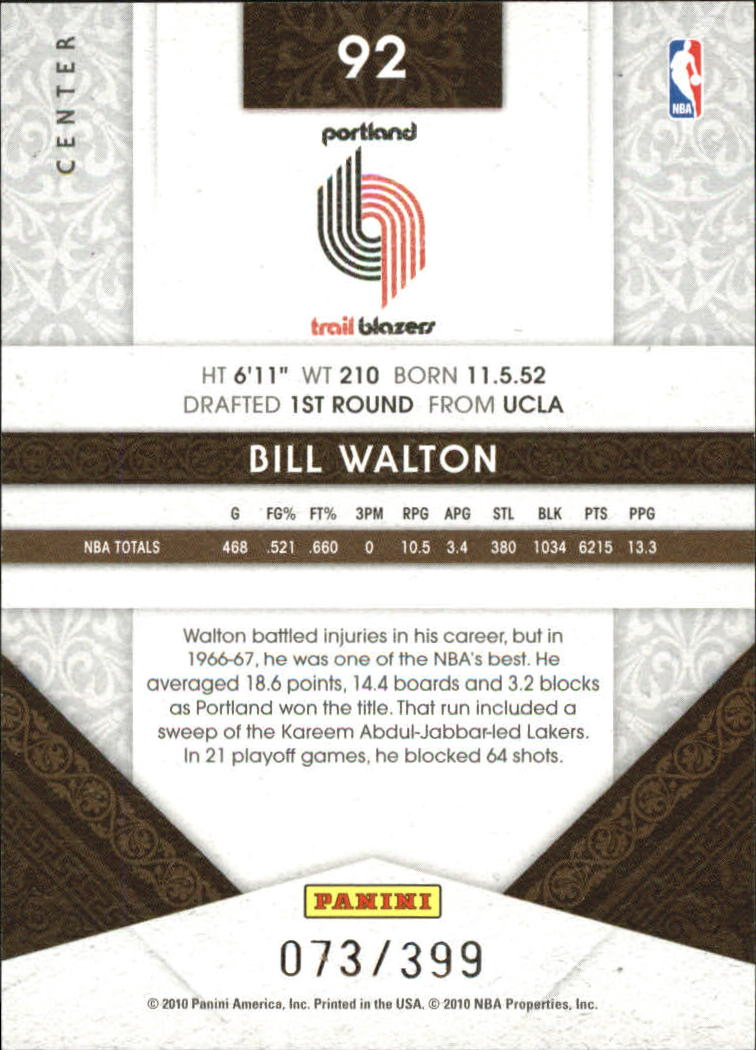 2009-10 Timeless Treasures #92 Bill Walton back image