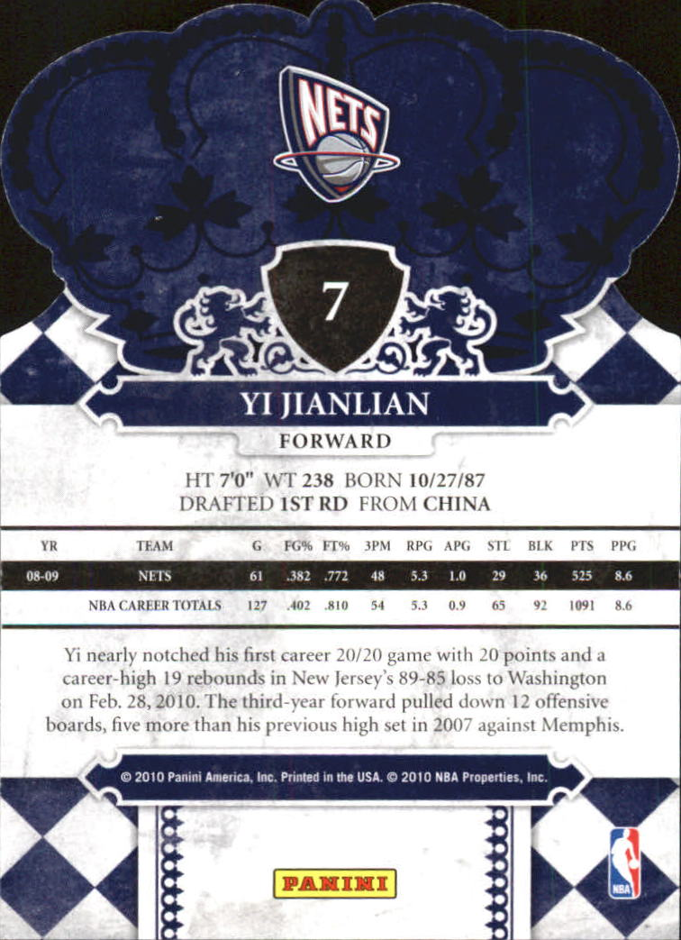 2009-10 Crown Royale #7 Yi Jianlian back image