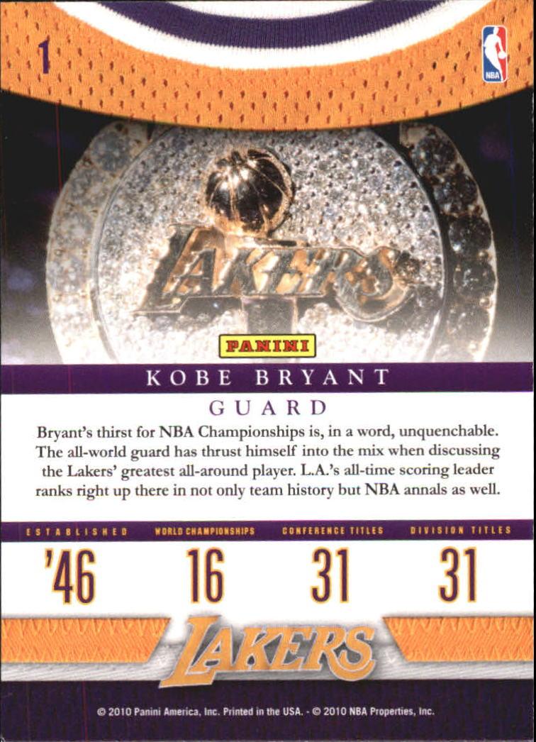 2009-10 Panini Season Update #1 Kobe Bryant HL back image